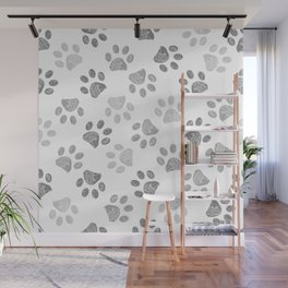 Black and grey paw print pattern Wall Mural