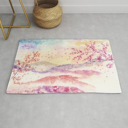 Loose Landscape and Branches Watercolor Rug