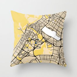 Sharjah Yellow City Map Throw Pillow