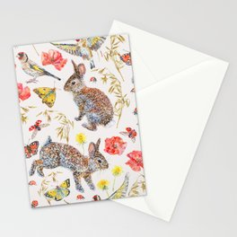 Bunny Meadow Pattern Stationery Cards