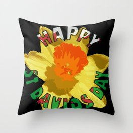 Happy St Davids Day Showy Spring Daffodil Throw Pillow