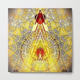 Bright Yellow Pedistal with Rubies Metal Print