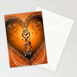 Cute giraffe couple Stationery Cards