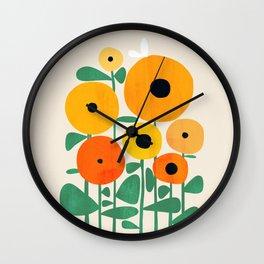 Sunflower and Bee Wall Clock