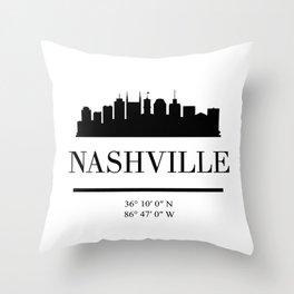 NASHVILLE TENNESSEE BLACK SILHOUETTE SKYLINE ART Throw Pillow