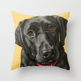 Black Labrador Retriever Portrait, Pop Art Lab Dog Painting Throw Pillow