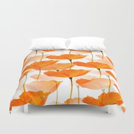 Orange Poppies On A White Background #decor #society6 #buyart Duvet Cover