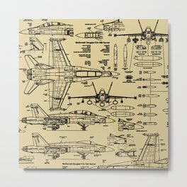 F-18 Blueprints // Tan Metal Print
