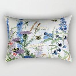 Wildflower in Garden Watercolor Flower Illustration Painting Rectangular Pillow