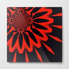 The Modern Flower Black & Red Metal Print