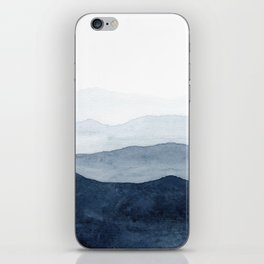 Indigo Abstract Watercolor Mountains iPhone Skin