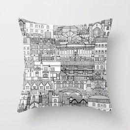 Cambridge toile mono Throw Pillow