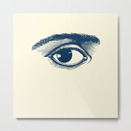 I see you. Navy Blue on Cream Metal Print