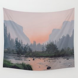 Yosemite Valley Sunrise Pretty Pink Wall Tapestry