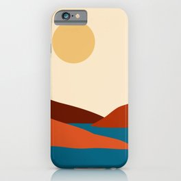 Relaxing Minimal Abstract Mountain Landscape with Water Inlet and Boat iPhone Case