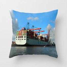 Cosco Cotainer Ship Throw Pillow