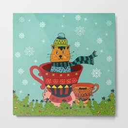 Christmas Kitty in a Teacup Metal Print