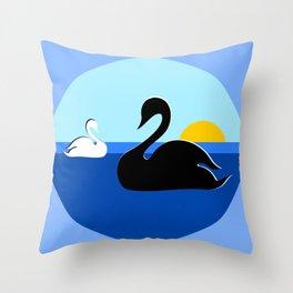 Black and White Swans on Blue Lake Throw Pillow