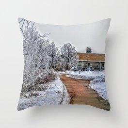 snowy path Throw Pillow