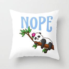 Cute & Funny Nope Not Today Lazy Napping Panda Throw Pillow