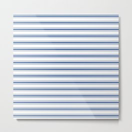 Mattress Ticking Wide Horizontal Stripe in Dark Blue and White Metal Print