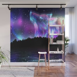 Northern landscape with howling wolf spirit and aurora borealis Wall Mural