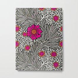 William Morris Marigold, Gray / Grey, and Fuchsia Metal Print
