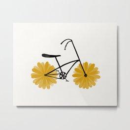 Flower Powered Bike Yellow Daisy Metal Print
