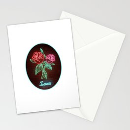 Neon Red Roses and Green Leaves with TEXT:LOVE Stationery Cards