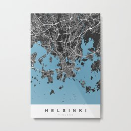 Helsiki Map | Black & Blue | More Colors, Review My Collections Metal Print