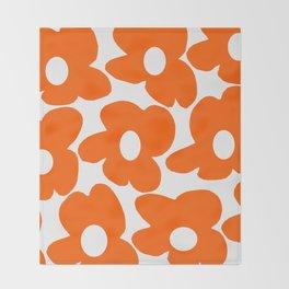 Orange Retro Flowers White Background #decor #society6 #buyart Throw Blanket