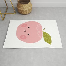 Kawaii happy apple print Rug
