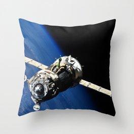 The Soyuz TMA-19 spacecraft departs the International Space Station on Nov 25 2010 Throw Pillow