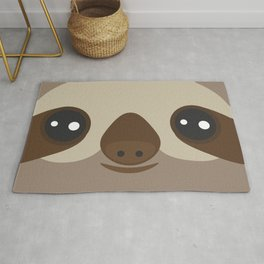 funny and cute smiling Three-toed sloth on brown background Rug