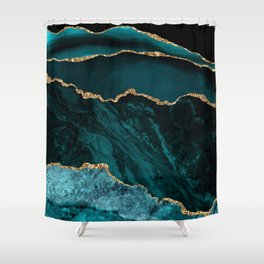 Teal Blue Emerald Marble Landscapes Shower Curtain