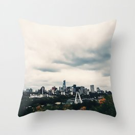 Edmonton Alberta, Digital Painting of a Very Cloudy Downtown just Before an Autumnal Storm Throw Pillow