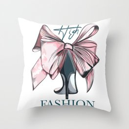 Fashion vector illustration with female elegant shoe and bow in watercolor style  Throw Pillow