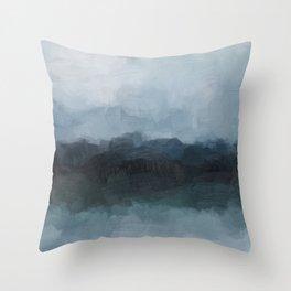 Gray Navy Blue Black Abstract Nature Ocean Painting Art Print Wall Decor  Throw Pillow