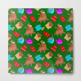 Cute winter pattern. Happy llamas, sweet chocolate bars, red woolen mittens, hot cocoa, marshmallows Metal Print