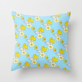 Daffodils + Bovine Throw Pillow