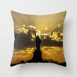 Statue of Liberty sunset in New York Harbor Throw Pillow