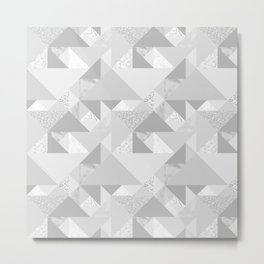 Modern abstract glacier gray white geometrical pattern Metal Print