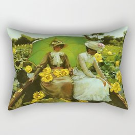 Spectacular 'Yellow Lotus Lilies' Floral Lily Pond portrait painting Charles Courtney Curran Rectangular Pillow