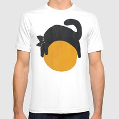 Cat with ball White SMALL Mens Fitted Tee