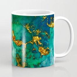 Emerald And Blue Glitter Marble Coffee Mug
