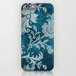 Aqua Teal Vintage Floral Damask Pattern iPhone Case
