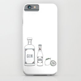 Gin tonic and lime illustration iPhone Case