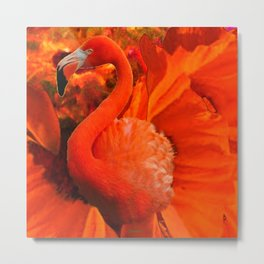 Tropical Saffron Flamingo Orange Floral Fantasy Painting Metal Print