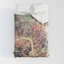 London Mosaic Map #1 Comforters