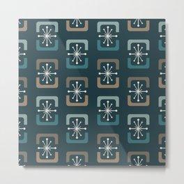 Mid Century Modern Starburst Shells Teal Metal Print